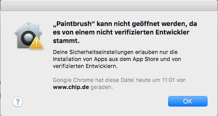 Apple Mac OS - Programm kann nicht geöffnet werden