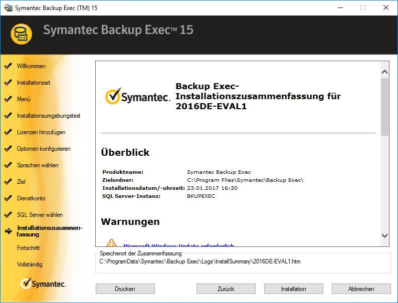Installation von Backup Exec im Labor