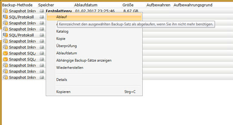 Arbeiten mit Backup Exec
