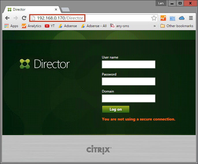 Citrix Director Webinterface