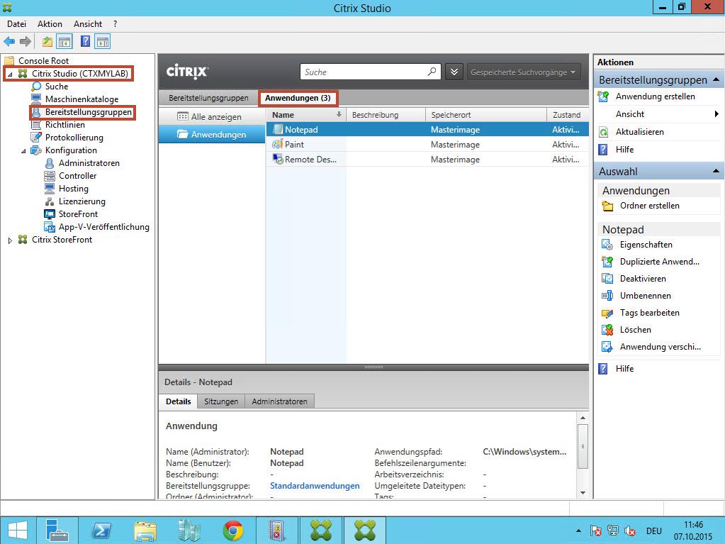 Citrix 7.6 Anwendungen bereitstellen