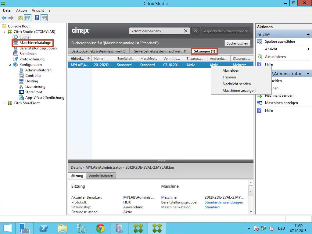 Citrix 7.6 Sitzungen verwalten