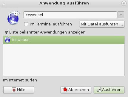 Debian Mate - Anwendung ausführen