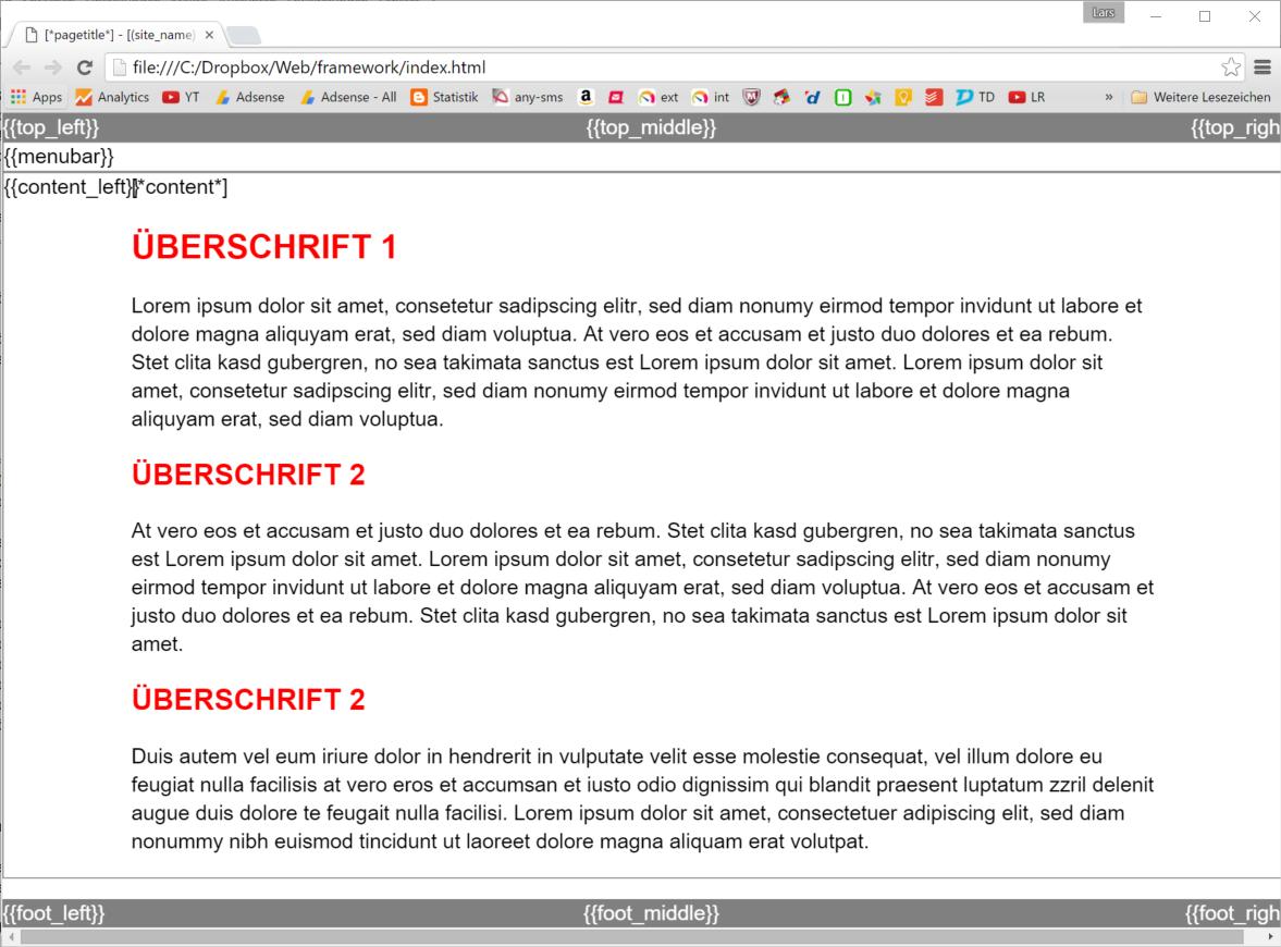 Ergebnis der Standard-Struktur für Webseitenlayout