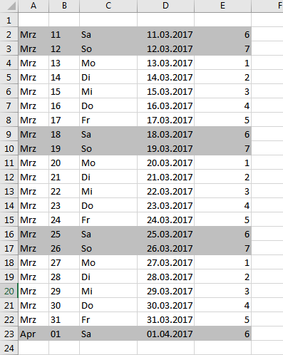 Excel - Datum, Uhrzeit, Stunden