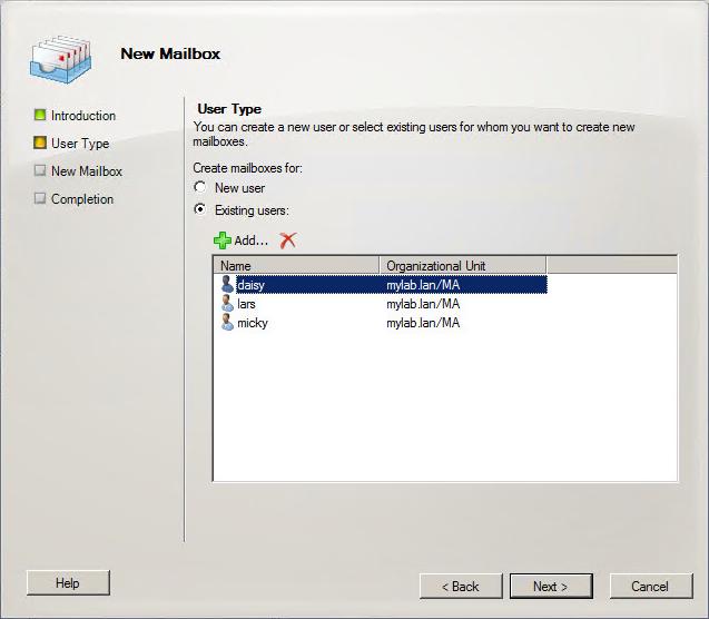 Exchange 2010 - Neue Mailbox erstellen