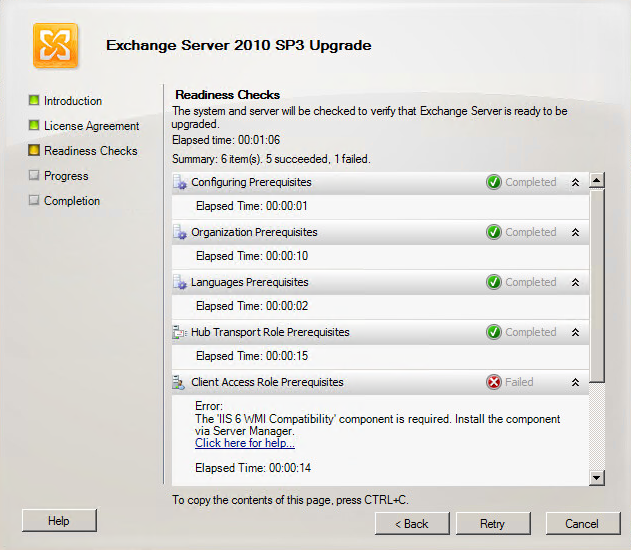 Exchange 2010 - Error: The 'IIS 6 WMI Compatibility'