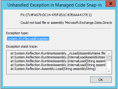 Exchange 2013 Toolbox Starfehler System.IO.FileLoadException