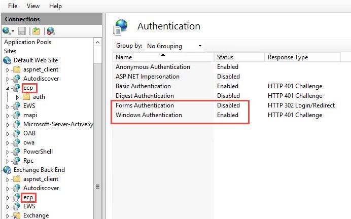 Exchange 2013 - IIS Authentifizierungsmöglichkeiten