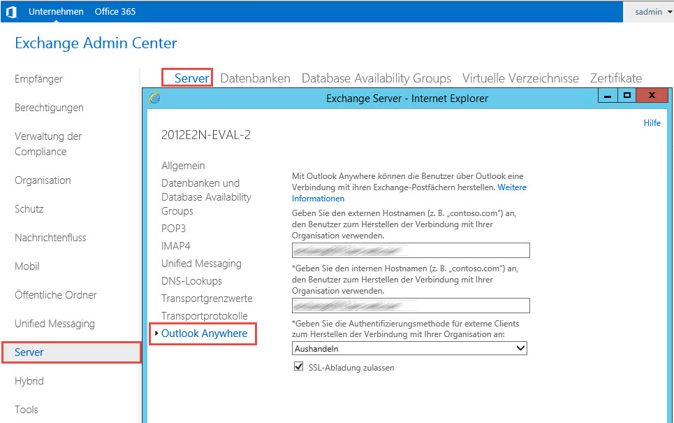 how to get external url for exchange 2013