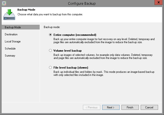Veeam Endpoint Backup