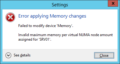 Hyper-V: Error applying Memory changes