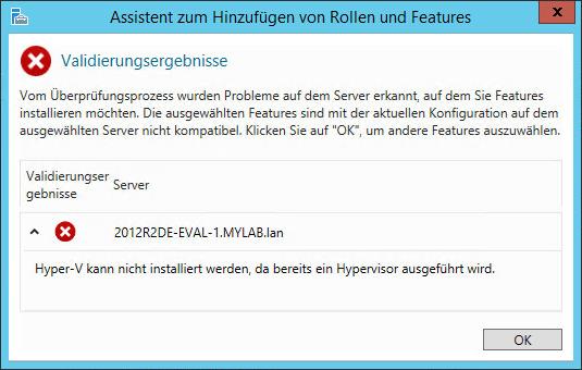 Hyper-V kann nicht installiert werden, da bereits ein Hypervisor ausgeführt wird
