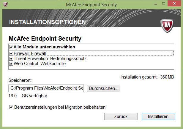 Kurz angetestet: McAfee Endpoint Security 10