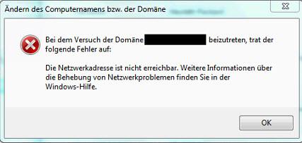 Fehler beim Domainjoin: Netzwerkadresse nicht erreichbar
