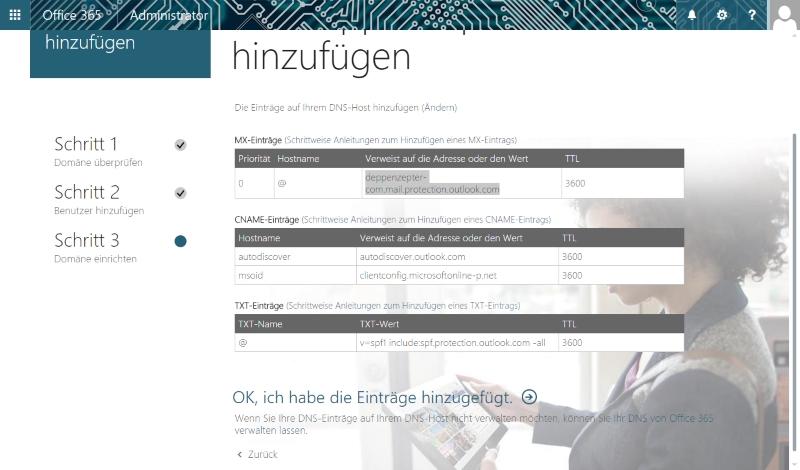 Exchange Online für eine neue Domäne einrichten