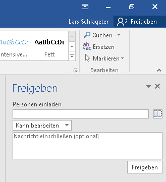 Dokumentenfreigabe in Office 2016