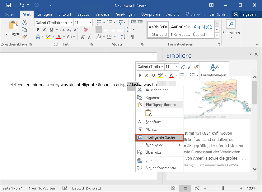 Intelligente Suche in Office 2016