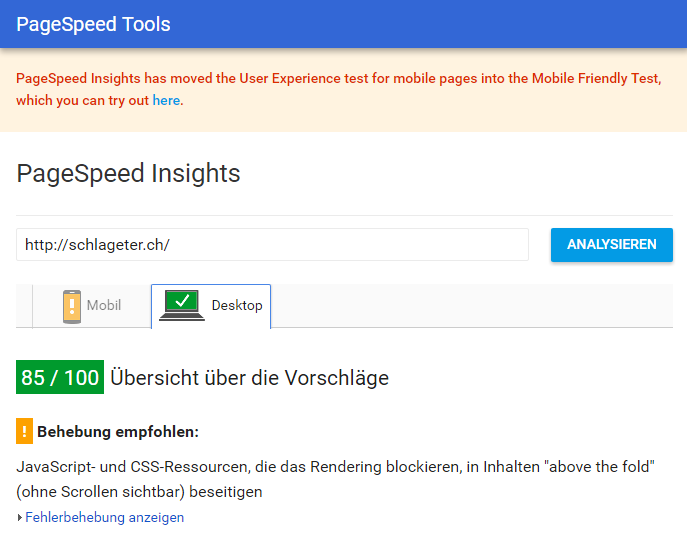 Pagespeed Insights von Google