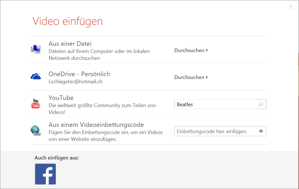 Video einfügen in Powerpoint 2016