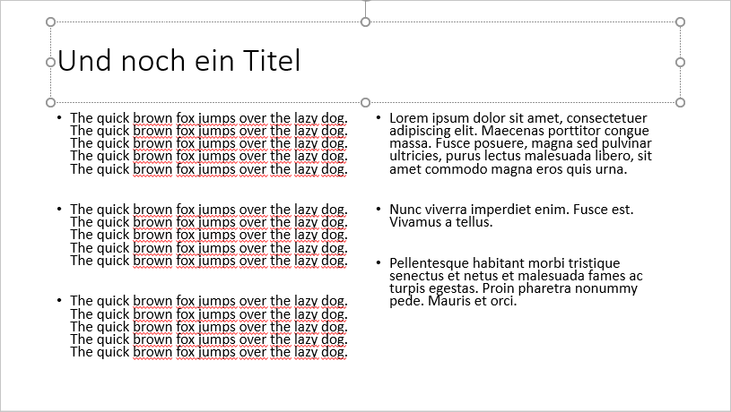 Eingebauter Blindtext in Powerpoint