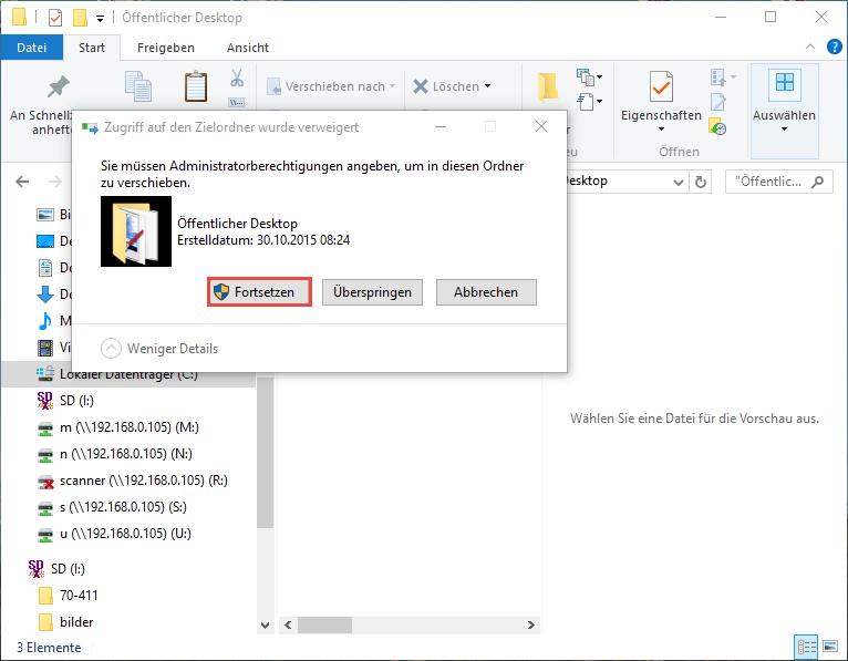 Der öffentliche Desktop in Windows 10