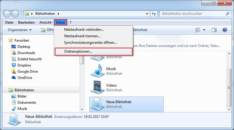 Ordneroptionen in Windows 7 aufrufen