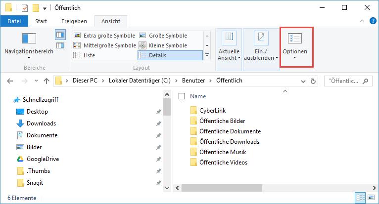 Ordneroptionen in Windows 10 aufrufen