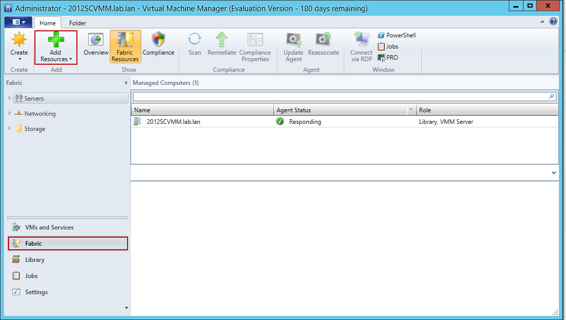 Arbeiten mit System Center Virtual Machine Manager (SCVMM) 2012 R2