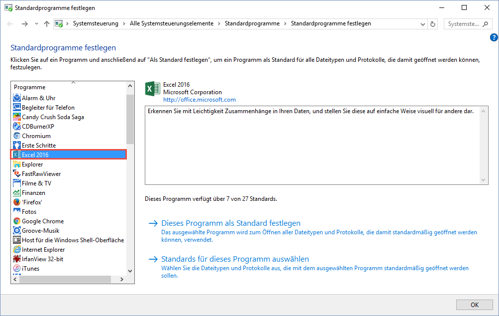 Standardprogramm unter Windows 10 korrekt einstellen