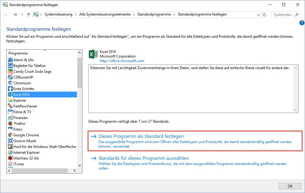 Standardprogramm unter Windows 10 korrekt einstellen