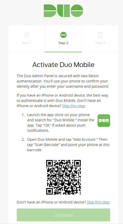 Abgleich Smartphone App mit Duo Security