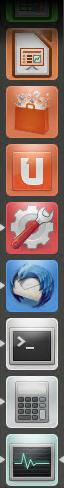 Ubuntu Starter mit Markierungen für laufende Anwendungen