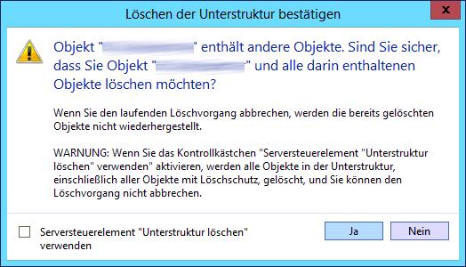 Fehlermeldung beim Löschen eines Active Directory Users: Objekt enthält andere Objekte