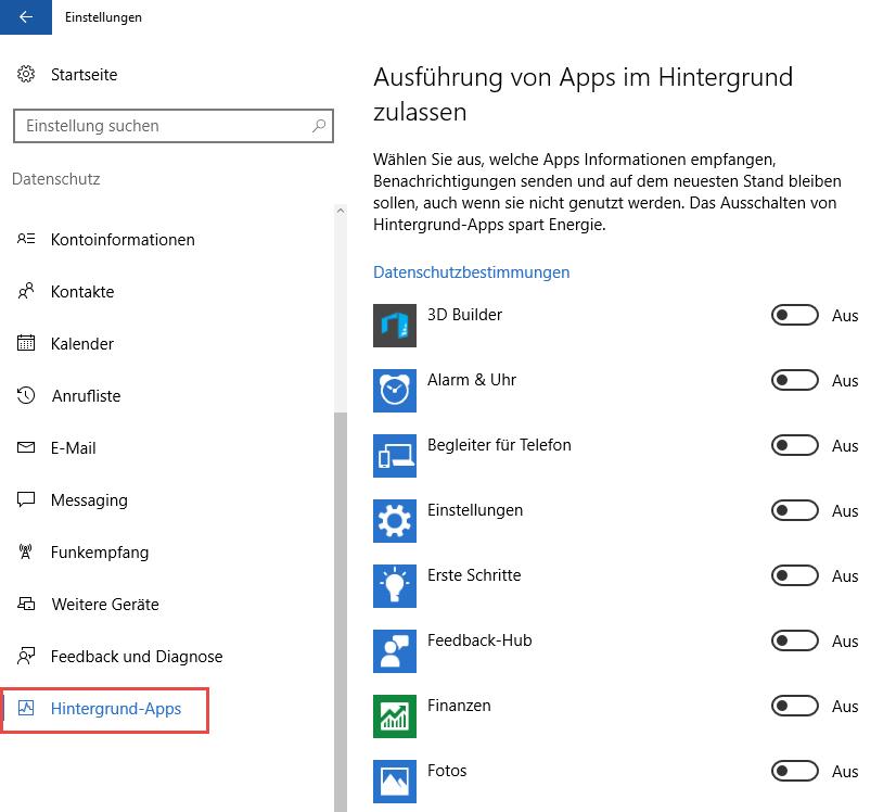 Windows 10 Apps im Hintergrund deaktiveren