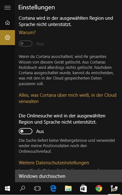 Windows 10 - Cortana in der Schweiz