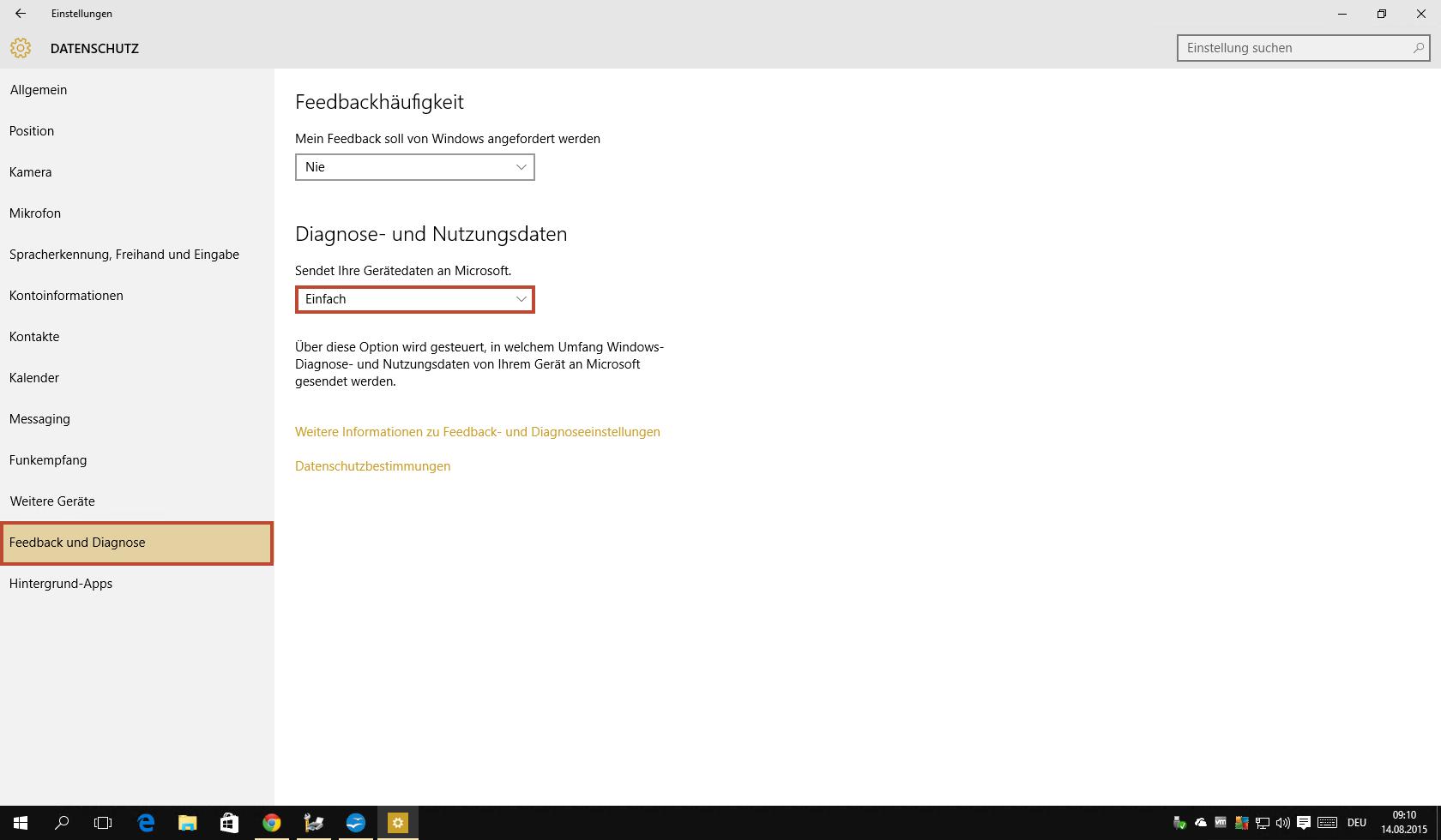 Windows 10 Datenschutzeinstellungen