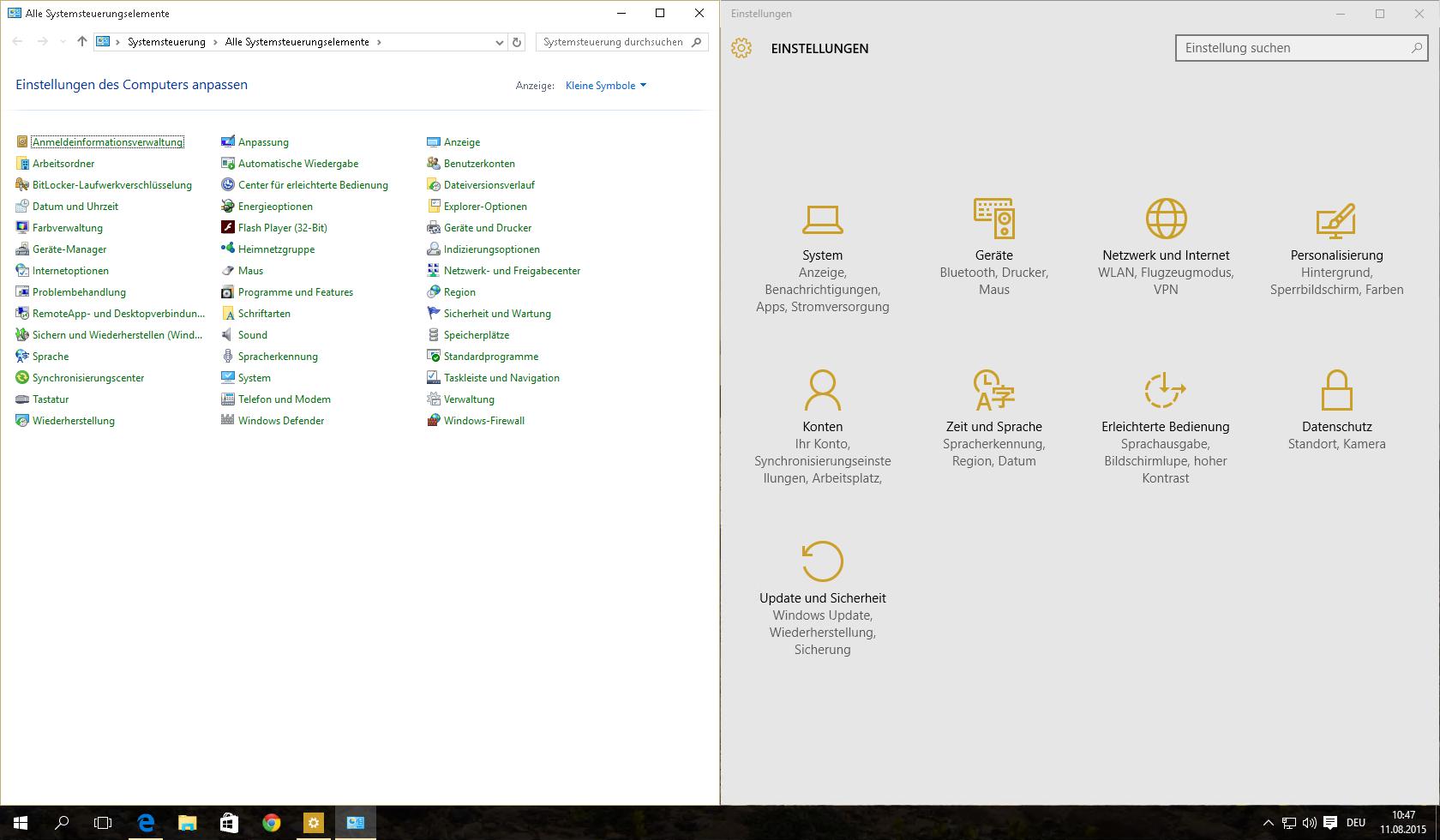 Windows 10 Systemsteuerung und Einstellungen in nicht trauter Zweisamkeit