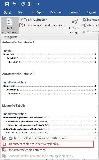 Word Inhaltsverzeichnis