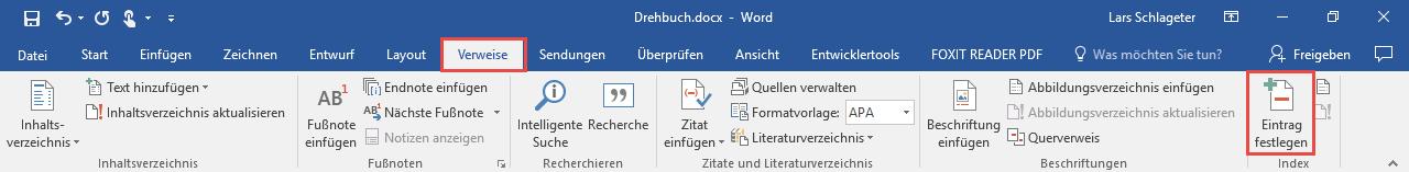 Word Stichwortverzeichnis erstellen