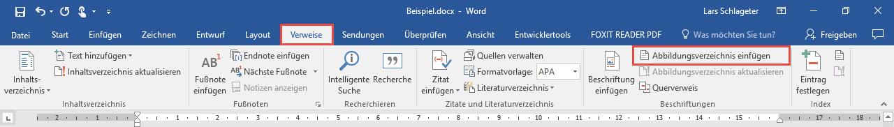 Word Abbildungsverzeichnis erstellen