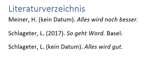 Word Literaturverzeichnis erstellen