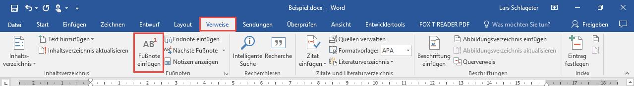Word Fussnote einfügen