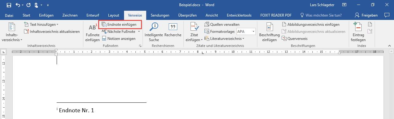 Word Endnote einfügen