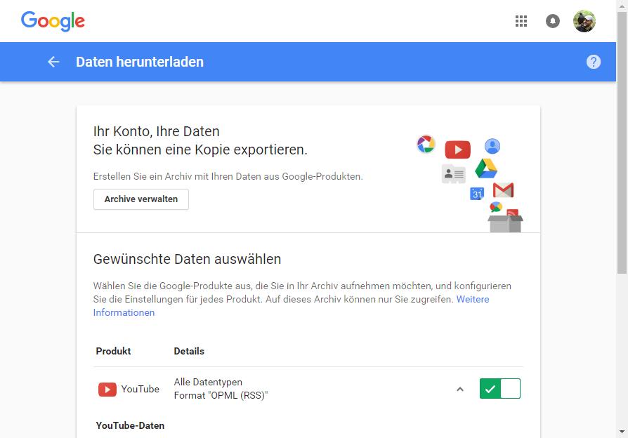 Youtube-Daten komplett sichern