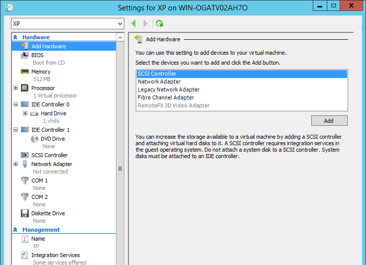 Features a Gen1 VM Hyper-V Manager