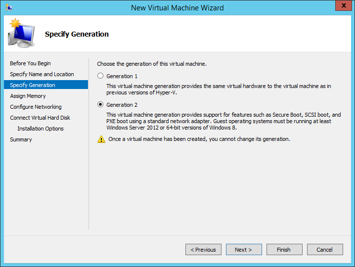 The VM-generation selection in Windows Server 2012 R2