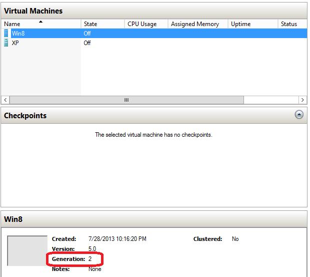 Anzeige der VM-Generation im Hyper-V-Manager