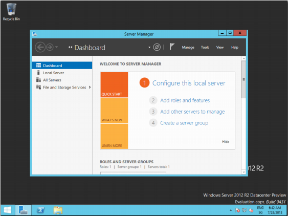 Windows Server 2012 R2 Oberfläche