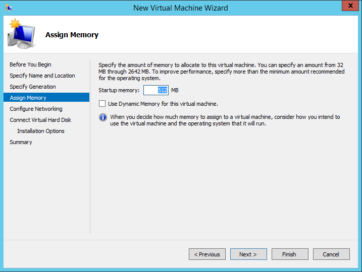 Memory-Auswahl in Windows Server 2012 R2